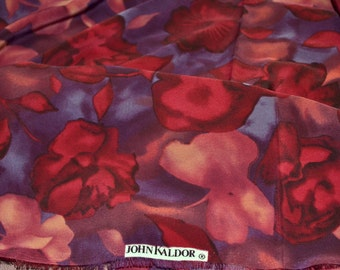 Fabric John Kaldor  Red Floral  Synthetic 1 1/2 yard Remnant
