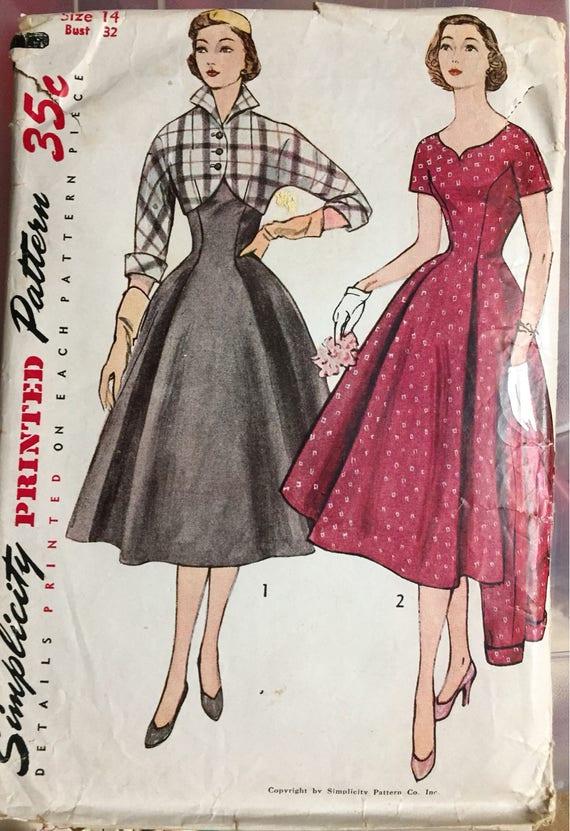 Vintage 1950s Princess Dress And Spencer Jacket Sewing Etsy