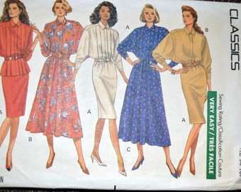 Top and Skirt Sewing Pattern Butterick 4305 Misses' Top and Skirt Size 12-14-16  Bust 34-38 Inches UNCUT Complete