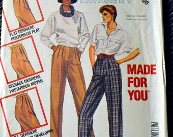 Pants McCall's 2315 Misses' Made for You Pants  Vintage 80's Sewing Pattern  Size 20 Waist 34 inches Complete Uncut FF Plus size
