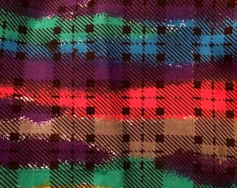 Fabric Colorful Plaid Heavyweight  All Cotton 1 1/2 yard 60 inches wide