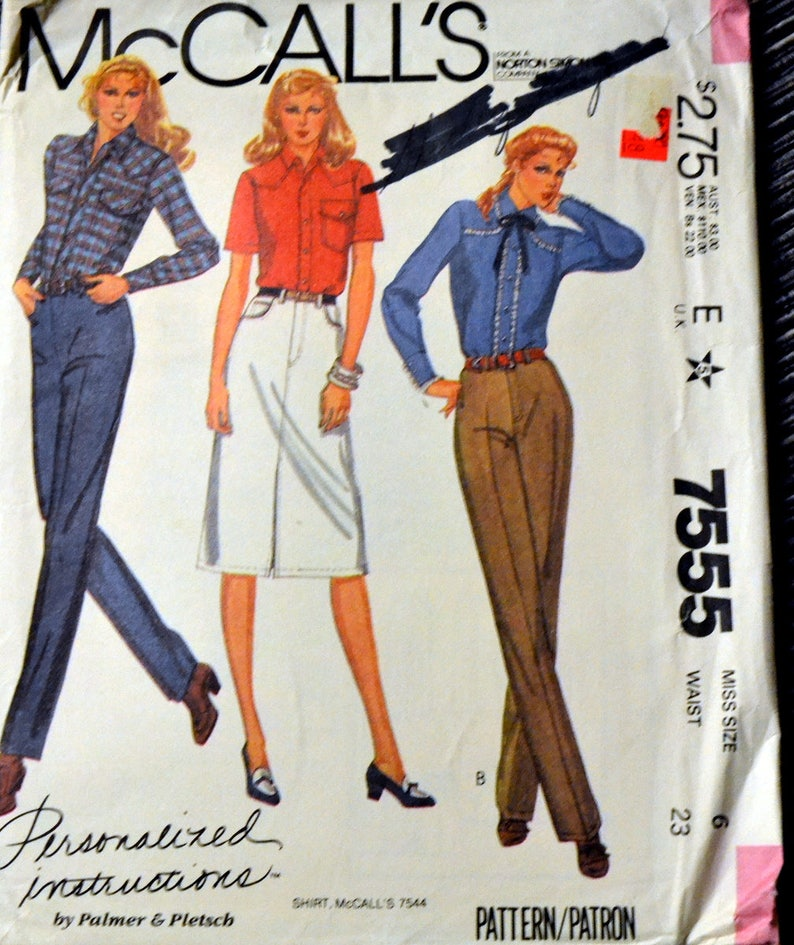 Retro 80's Jeans and Skirt Sewing Pattern McCall's image 0