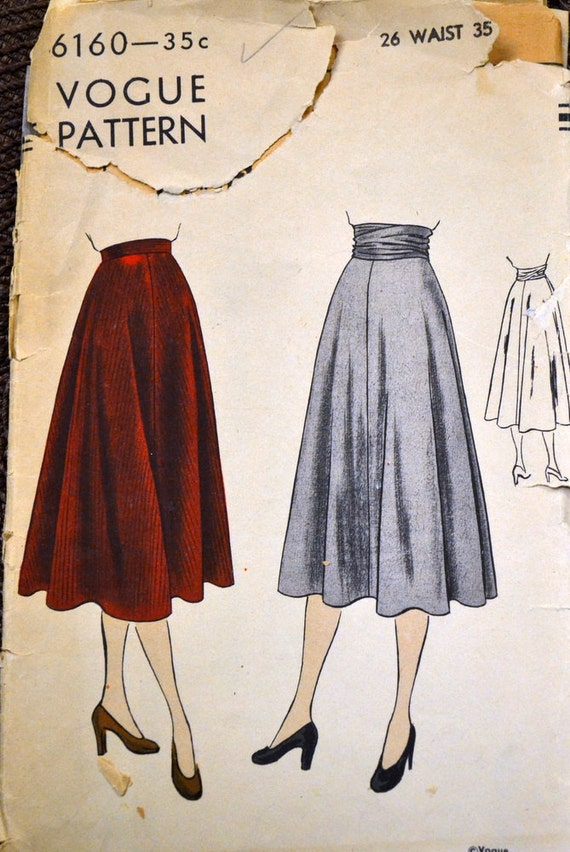 Vintage 1940s Skirt Sewing Pattern Vogue 6160 Misses Skirts | Etsy