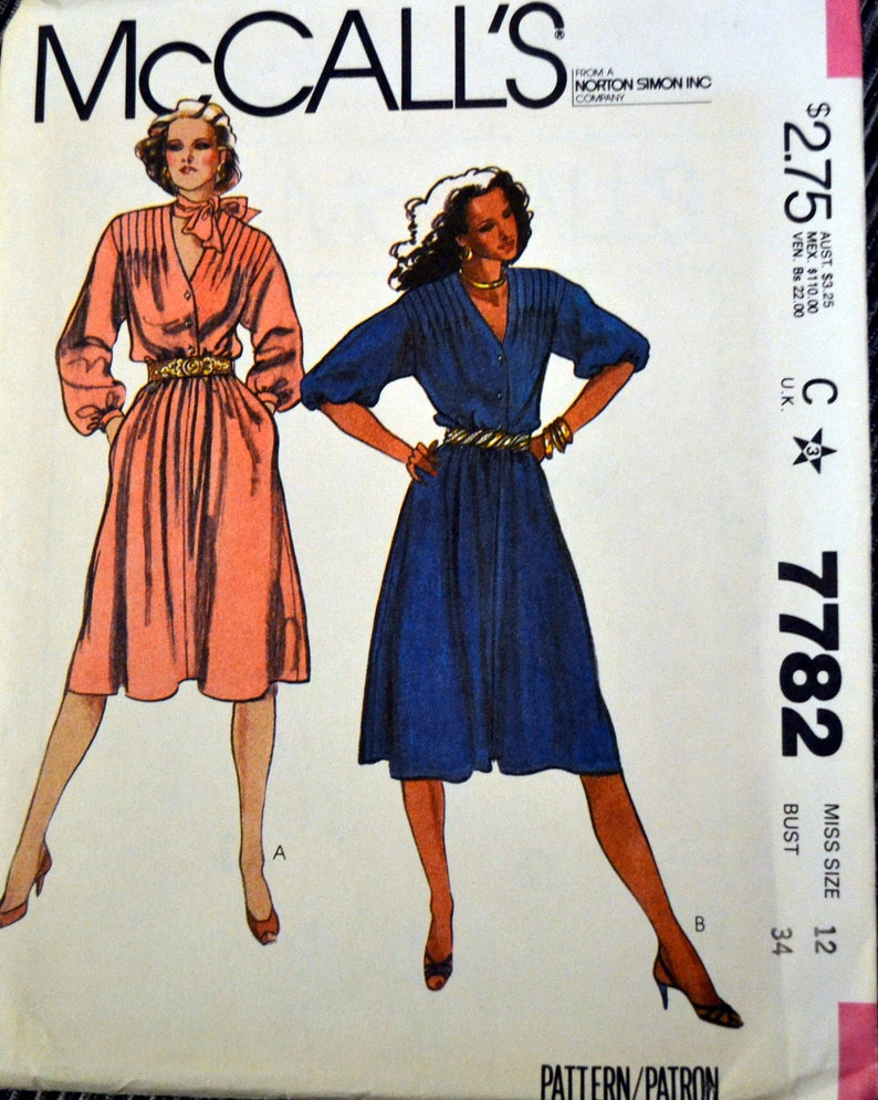 9f18e8f67b38 Vintage 80 s Dress Sewing Pattern McCall s 7782