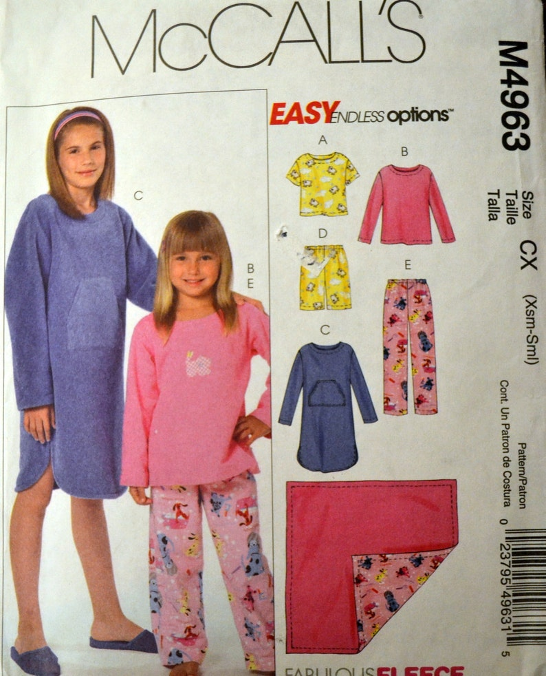 11be301f3a3a Girls  Pajama s Gowns and Blanket Sewing Pattern