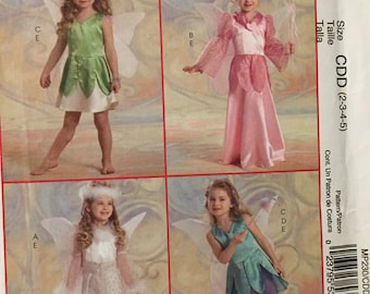 Girls' Fairy Costume Sewing Pattern McCall's 230 Girls'  Sizes 2-5 Fairy Costumes Complete