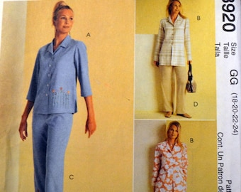 Plus Size Tops and Pants Sewing Pattern McCall's  3920 Misses'   Bust 40-46 inches Uncut Complete Plus Size