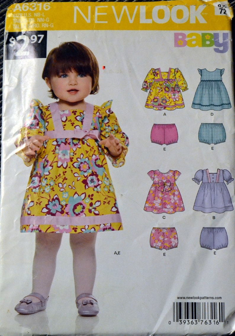 New Look 6316 Baby Girls'  Dress  and Panties Size NB-L image 0