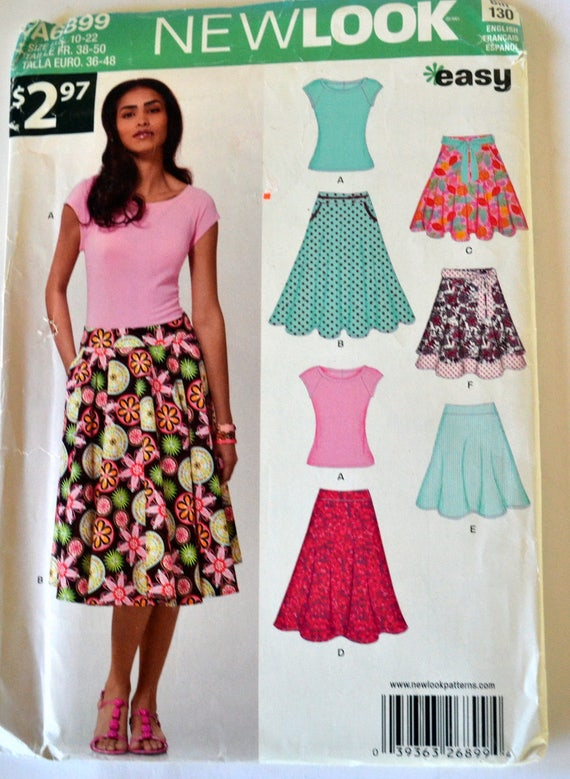 New Look Ladies Easy Sewing Pattern 6899 Tops /& Full Skirts