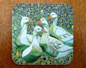 COASTER Geese Coaster - Geese Mosaic Art - Duck Coaster - Goose Coaster - Green Coaster - Drink Coasters - Home Decor - Housewarming Gift
