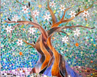 Blue Tree of Life Print  Limited Edition Giclee Print - Glass Mosaic  - Tree Print - Tree Wall Decal - Tree Painting - Stained Glass Tree