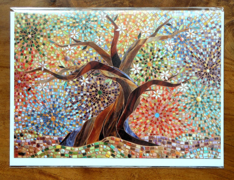 Muliticoloured Tree Of Life Greetings Card Mosaic Art Tree
