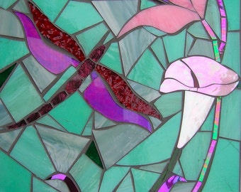 Pink Water Lily and Dragonfly Card - Blank Greetings Card - Mosaic Art - Lily Card - Birthday Card - Card for Her  Floral Card Greeting Card