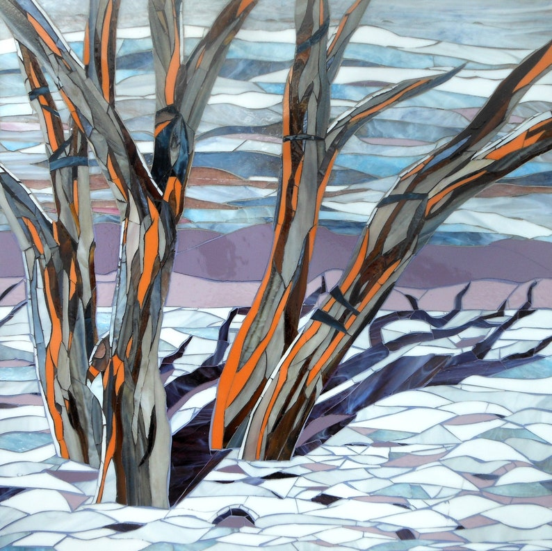 Snow Gums Original Glass Mosaic  Tree Mosaic image 0