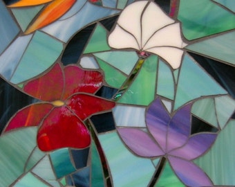 Water Lily and Dragonfly Card - Blank Greetings Card - Mosaic Art - Water Lily Card - Birthday Card - Stained Glass Flowers Mosaic Dragonfly