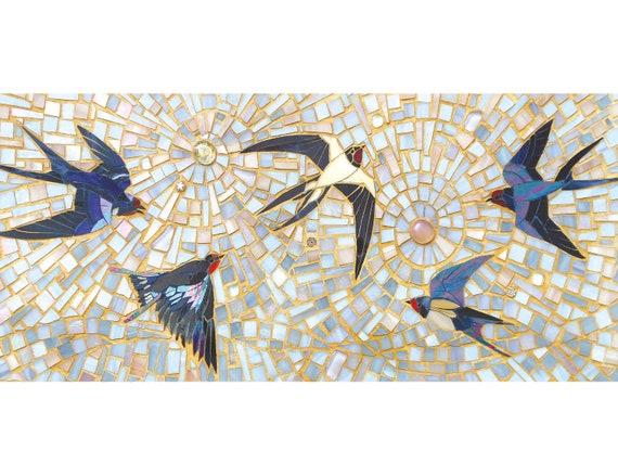 Swallows /'Flight Haze/' 8x10 Mounted Monotype Print Original Art