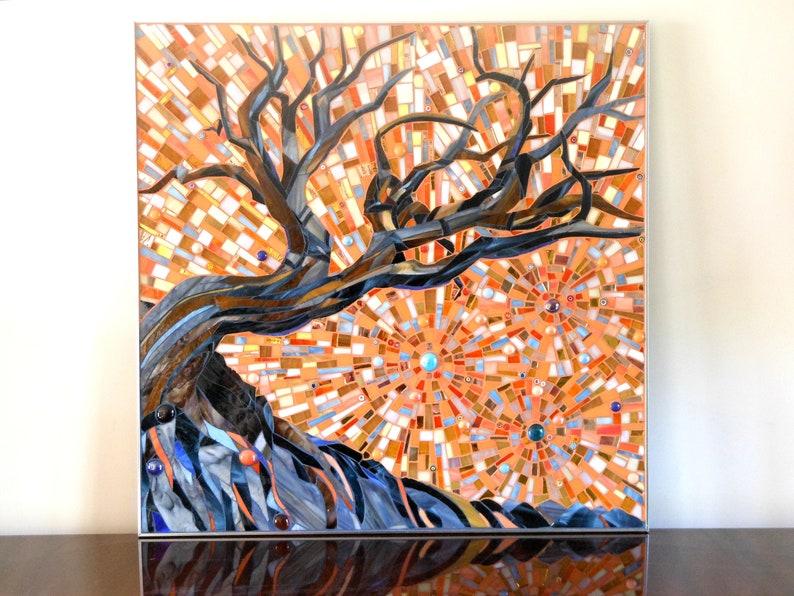 Esse Mosaic  Original Stained Glass Mosaic Tree image 0