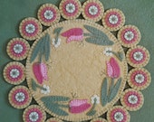 SPRING 39 S PROMISE, Wool Applique Kit, Wool Applique, Tulips Spring Penny Rug Kit, Candle Mat Kit, Tulip Applique Kit, Embroidery Kit