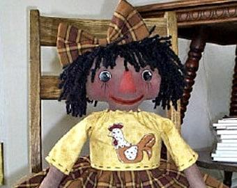Black Rag Doll Pattern, Primitive Black Doll Pattern, Instant Download, Cloth Doll Pattern, Rag Doll Pattern, E-Pattern, Lil Chicken Annie