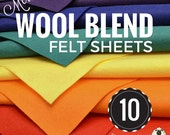 10 or 20 Merino Wool Felt Sheets, Wool Felt Bundle, Wool Blend Felt, Wool Felt Fabric, Felt Sheets, Craft Felt Sheets, Choose your Colors