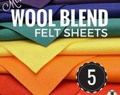 5 or 10 Merino Wool Felt Sheets, Wool Felt Bundle, Wool Blend Felt, Wool Felt Fabric, Felt Sheets, Craft Felt Sheets, Choose your Colors