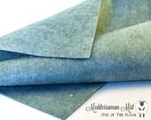 MEDITERRANEAN MIST Wool Felt, Merino Wool Blend Felt, Heathered Wool Blend Felt, Wool Felt Yardage, Wool Felt Fabric, Blue Felt Fabric