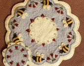 Bee My Honey Bee Candle Mat Kit, Penny Rug Kit, Wool Felt Kit, Prim Wool Felt Kit, Merino Wool Candle Mat Kit, Bee Candle Mat Applique Kit