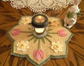 SPRING BLOSSOMS, Wool Applique Kit, Penny Rug Kit, Felt Craft Kit, Wool Applique, Tulip Embroidery Kit, Candle Mat Kit, Table Mat Kit