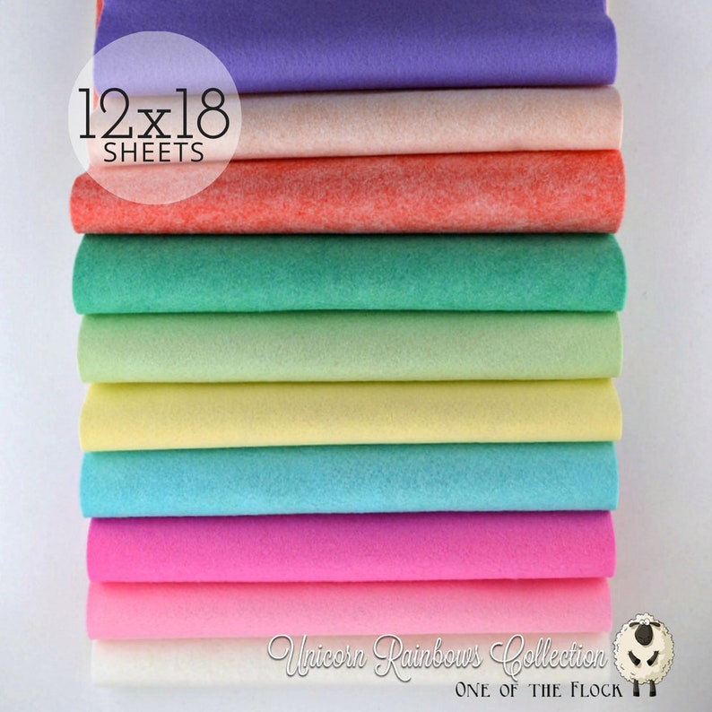 NEW Unicorn Rainbows Collection Wool Blend Felt Wool Felt image 0