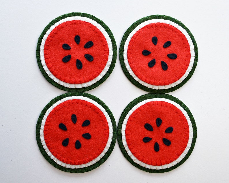 Watermelon Coaster Kit All Inclusive Wool Felt Applique Kit image 0