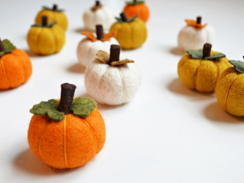Pumpkin Felt Balls SETS of 3 Fall Mini Pumpkins Choose Felt image 0