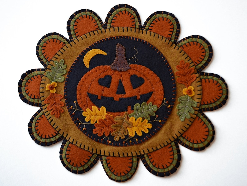 Fall Wool Applique Kit Pumpkin Wool Applique Penny Rug Kit image 0