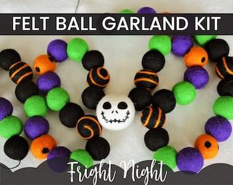 FRIGHT NIGHT Garland Kit, Halloween Felt Ball Garland, Felt Ball Garland Kit, DIY Halloween Garland, Black Orange Garland, Felt Pom Garland