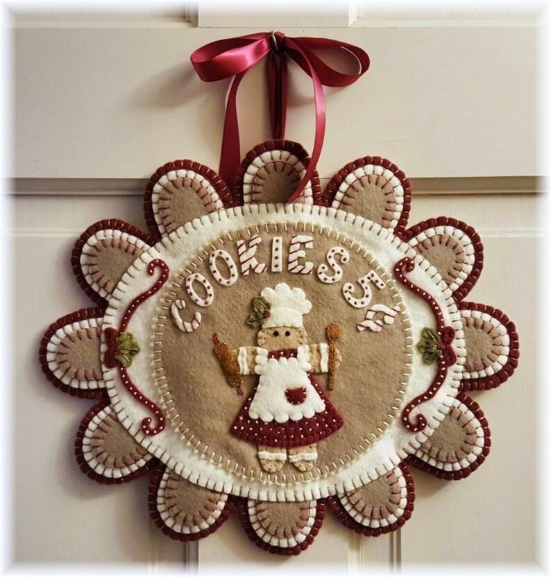 Candle Mat Kit Penny Rug Wool Felt Applique Gingerbread image 0