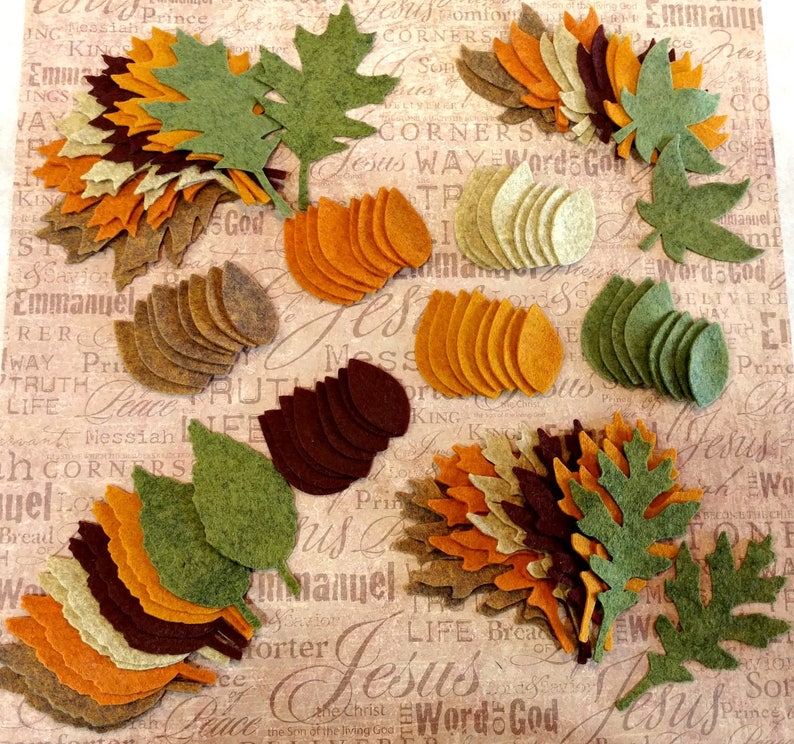 96 pcs. Wool Felt Fall Leaves  Die Cut Leaves  Gold Brown image 0