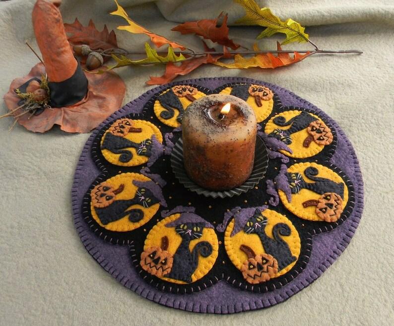 Candle Mat Kit Penny Rug Wool Applique Felt Kit Halloween image 0