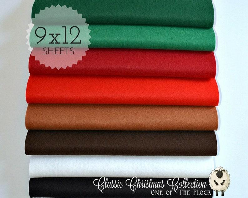 8 Sheets of Felt 9x12 Wool Felt Sheets Christmas Felt The Christmas Collection