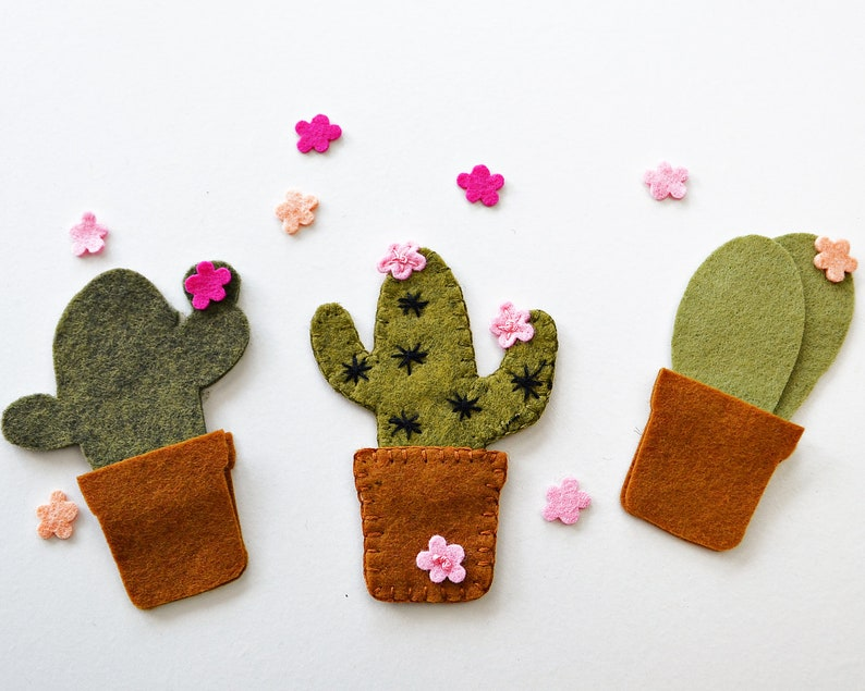 46 pcs. Cactus Die Cuts  Cactus Felt Shapes  Wool Felt Die image 0