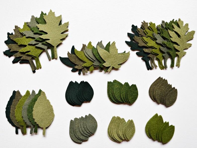 96 pcs. Wool Felt Green Leaves  Die Cut Leaves  Green Felt image 0