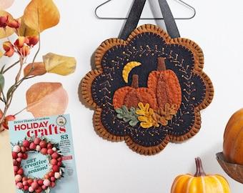 BITTERSWEET FALL Pumpkin Wall Hanging, Penny Rug Kit, Wool Felt Kit, Fall Applique Kit, Wool Applique Kit, Merino Wool Wall Hanging Kit