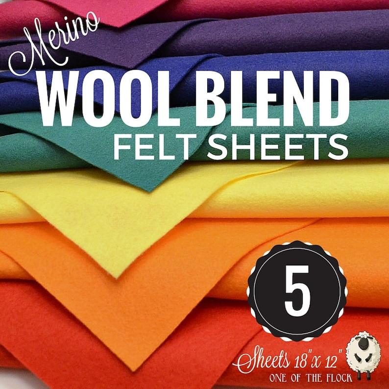 5 or 10 Merino Wool Felt Sheets Wool Felt Bundle Wool Blend image 1