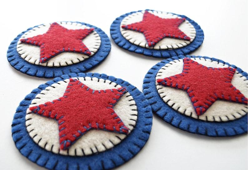 4 Pc Red White /& Blue Coaster Kit Prim Stars Coaster Kit All Inclusive Wool Felt Applique Kit Penny Rug Wool Felt Kit Merino Wool Felt Kit