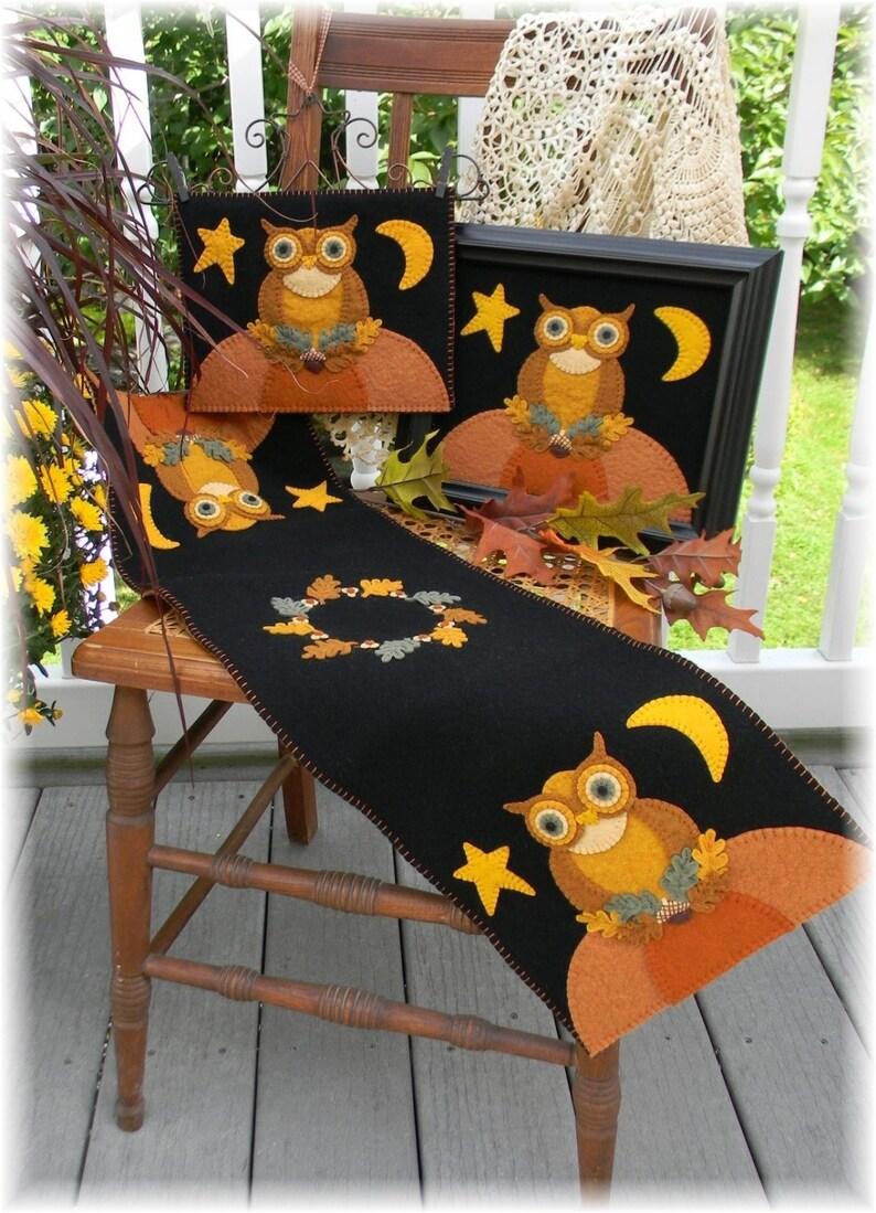 Owl Table Runner Penny Rug Kit Wool Felt Kit Owl Table image 0