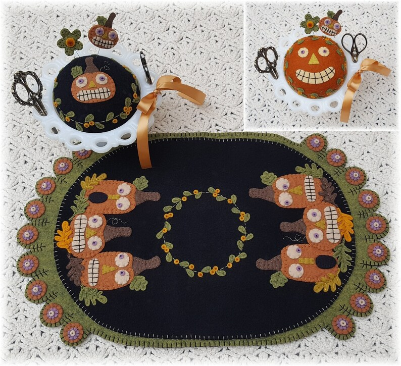 Candle Mat Kit Penny Rug Kit Wool Felt Applique Kit Fall image 0