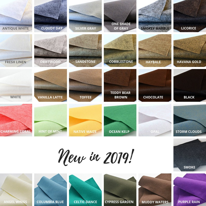 Craft Felt Sheets Wool Felt Fabric Wool Felt Bundle Choose your Colors 5 or 10 Merino Wool Felt Sheets Wool Blend Felt Felt Sheets