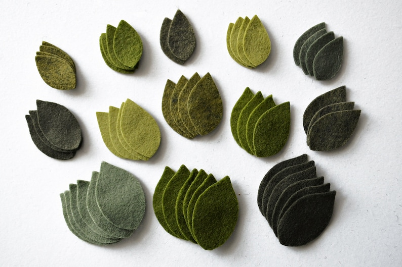 54 pcs. Die Cut Leaves  Wool Felt Leaves  Assorted Felt image 0