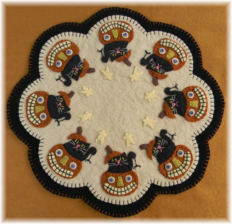 Candle Mat Kit Penny Rug Kit Wool Felt Kit Pumpkin Candle image 0