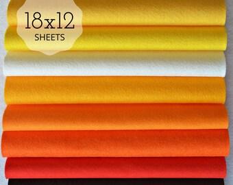 NEW *** CANDY CORN Felt Collection, Wool Blend Felt, Felt Sheets, Wool Felt Fabric, Felt Fabric Bundles, Wool Felt Bundles, Felt Collections