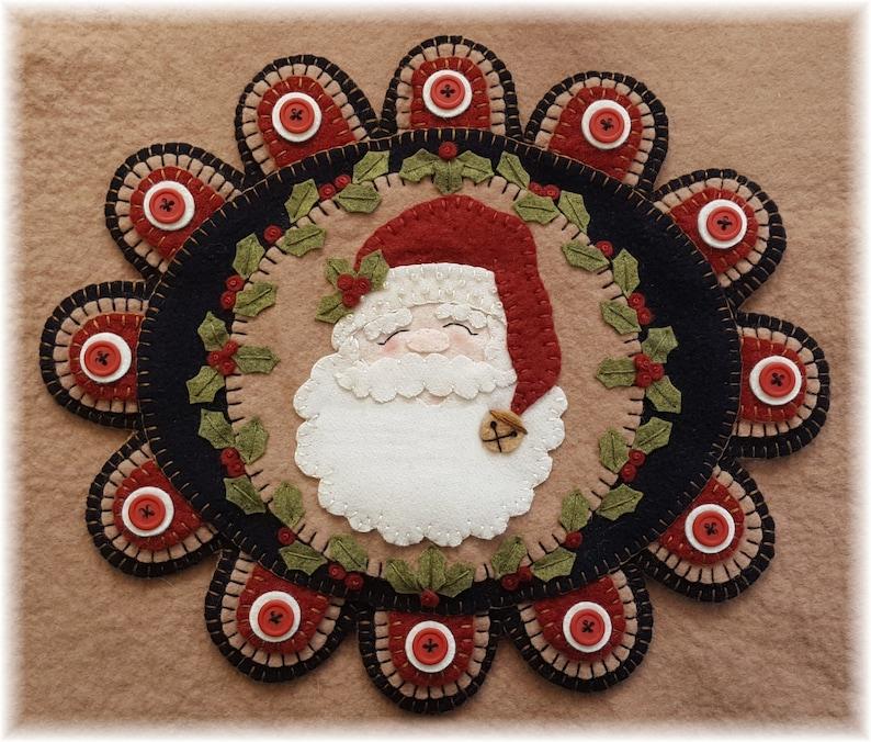 Dear Santa Candle Mat Kit Penny Rug Wool Applique Felt Kit image 0