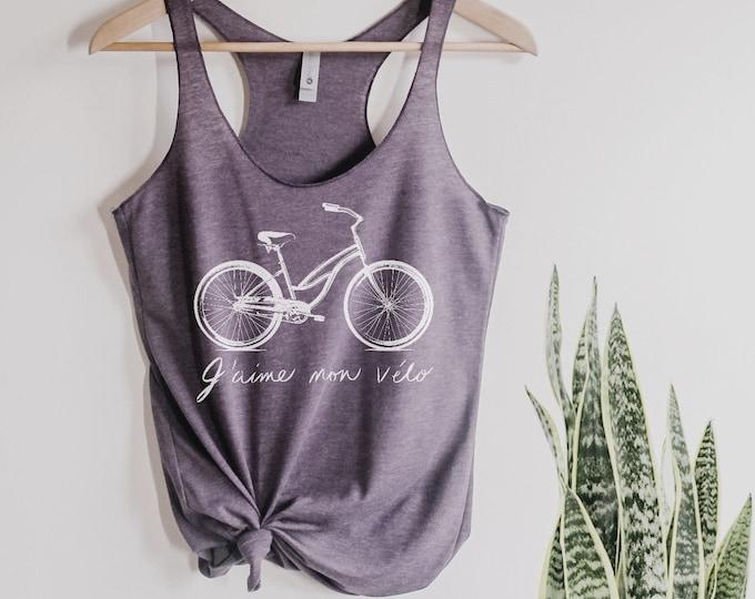 Bike shirt I LOVE my BIKE french script Girls Ladies Heathered Tank Top Shirt screenprint gift for her
